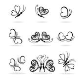 Set of vector butterflies and hearts — Stock Vector