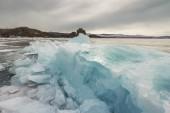 Blue ice of Baikal — Stock Photo