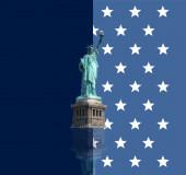 Frihetsgudinnan stjärnor flagga — Stockfoto