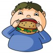 Fat Boy eat burger — Stock Vector #51883657