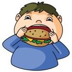 Fat Boy eat burger — Stock Vector
