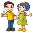 Boy and Girl thumb up — Stock Vector #51883731