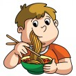 Boy Eating Noodle — Stock Vector #54771999