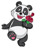 Panda with red rose — Vector de stock
