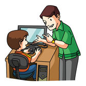 Kid learning Computer — Stock Vector