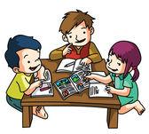 Kids Studying Together — Stock vektor