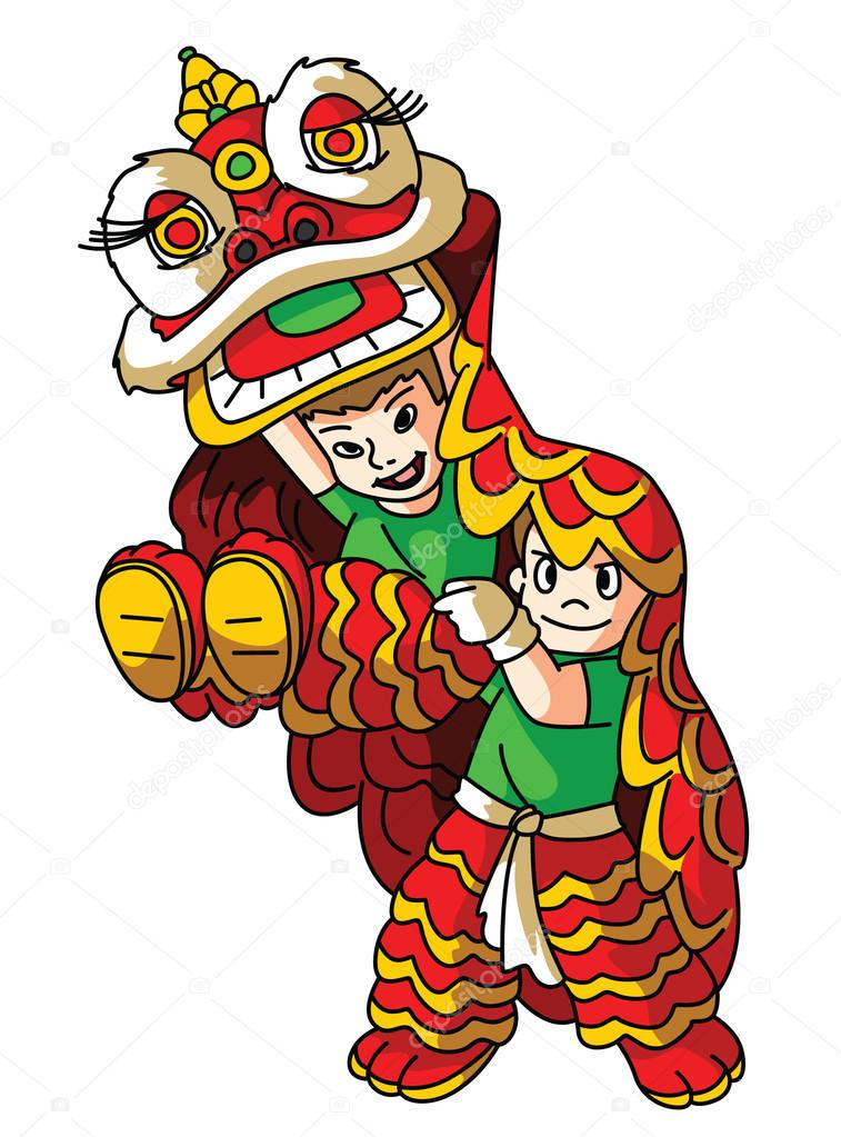 Chinese Lion Dance Vector Lion Dance Vector by