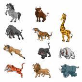 有趣的动物卡通集合 — 图库矢量图片
