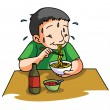 Boy Eating Noodle — Stock Vector #59341347