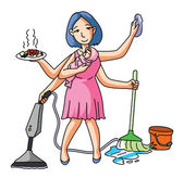 Housewife cleaning and dusting — Stock Vector