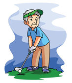Old Man Playing Golf — Stock Vector