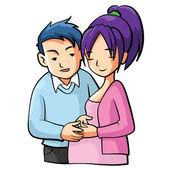 Pregnant Mom Cartooon Illustration — Stock Vector