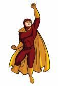 Rouge Super héro Cartoon Illustration — Vecteur