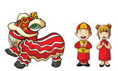 Chinesse Lion dance and Couple — Stock Vector