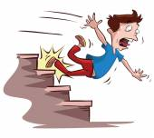 Man slipped on the stairs — Stock Vector