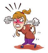 Angry woman on white — Stock vektor