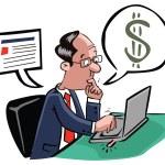 Business man on online transaction — Stock Vector #71565815