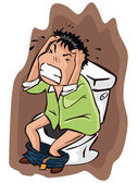 Boy on toilet with stomach ache — Stock Vector