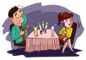 Failure couple in restaurant — Stock Vector