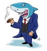 Köpekbalığı işadamı puro ile — Stok Vektör