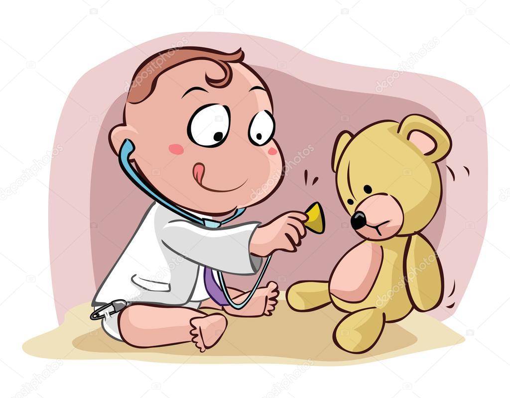 Doctora embarazada jugando docter