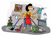 Busy housekeeper doing many tasks — Stock Vector