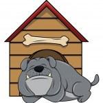 Bulldog sleeping near house on white — Stock Vector #76316545