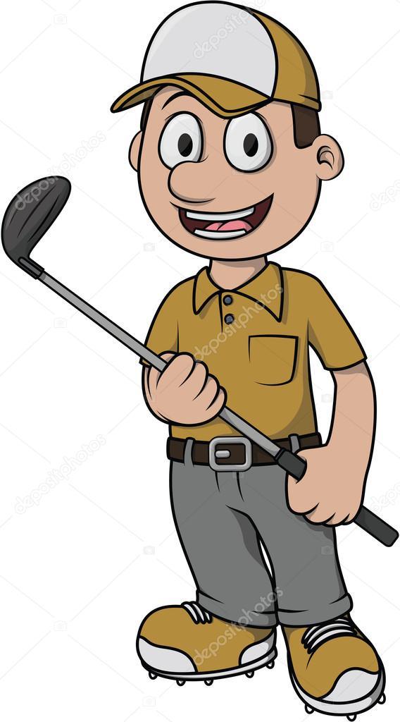 Disegno del fumetto giocatore di golf — vettoriali