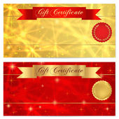 Gift certificate, Voucher, Coupon, Reward or Gift card template with sparkling, twinkling stars texture, ribbon (banner). Red, gold background design for banknote, check, money bonus, flyer — Stock Vector