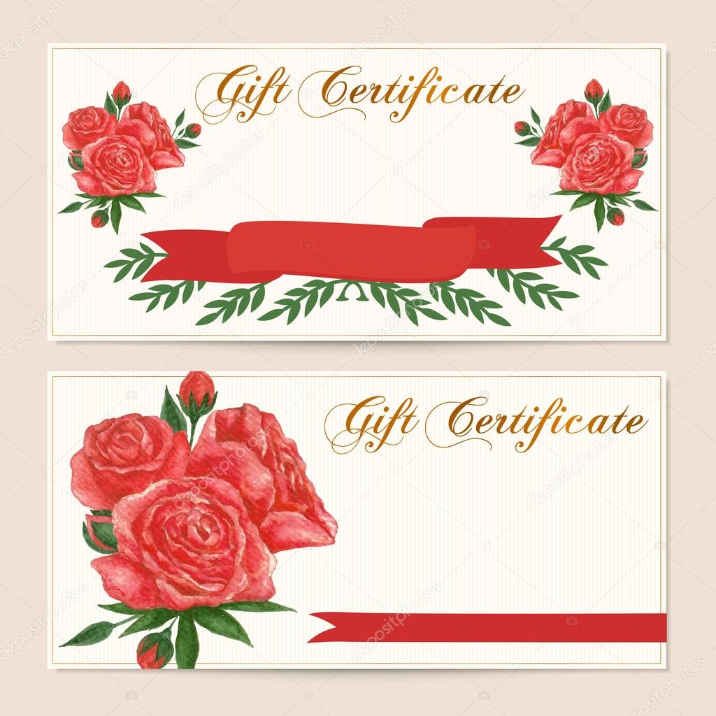gift certificate voucher coupon reward card template gift certificate voucher coupon reward card template vintage red rose flowers