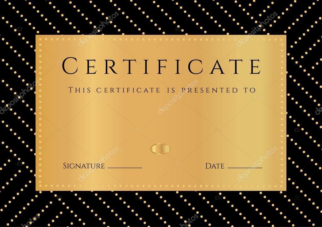 Sertifika, Diploma tamamlanması ile siyah arka plan, altın elemets ...