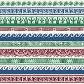 Greek style seamless borders - hand drawing — Vetorial Stock