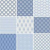 Seamless oriental geometric patterns set in blue — Stock Vector