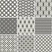 Set of endless monochrome simple patterns — Wektor stockowy