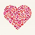 Vector heart shape - Leopard texture with kiss print — Stock Vector #61521593