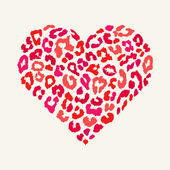 Vector heart shape - Leopard texture with kiss print — 图库矢量图片
