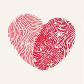 Fingerprint Love Heart — Stock vektor