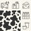 Web icons Dairy milk and cow skin seamless pattern. — Stock Vector #64497155