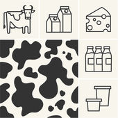 Web icons Dairy milk and cow skin seamless pattern. — Stock Vector
