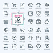 E-commerce, online shopping. Outline web icons set. — Stock Vector