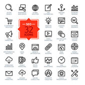 Outline web icons set - SEO (Search Engine Optimization) — Stock Vector
