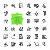 Outline web icons set - Real Estate — Stock Vector