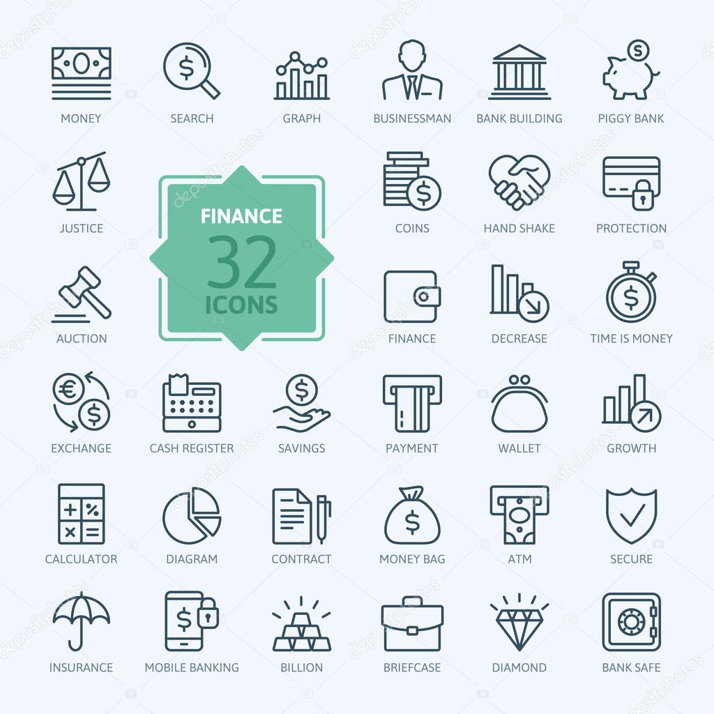 Outline web icon set - money, finance, payments