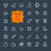 Thin lines web icon set - pet, vet, pet shop, types of pets — Stock Vector
