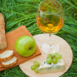 Still life with white wine, baguette, cheese, grape and apple  — Stock Photo #52490183