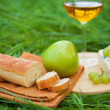 Still life with white wine, baguette, cheese, grape and apple — Stock Photo #52490187