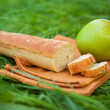 Still life with white wine, baguette, cheese, grape and apple — Stock Photo #52490201