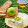 Still life with white wine, baguette, cheese, grape and apple — Stock Photo #52490215