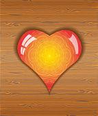 Serce na tekstury drewna. — Wektor stockowy
