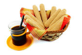 Ladyfinger - savoiardi biscuits and coffee — Stock Photo
